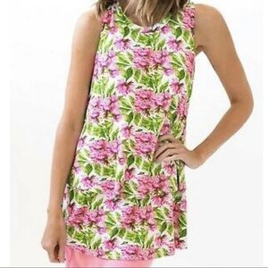 Agnes & Dora Floral Sleeveless Tiered Tunic Top